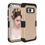 For Samsung Galaxy S8 Dropproof 3 in 1 Silicone sleeve for mobile phone (Gold)