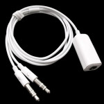 3.5mm Female to 3.5mm Male Microphone Jack + 3.5mm Male Earphone Jack Adapter Cable for Apple Computer, Length: 78cm(White)