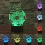 Football Crown Style USB Charging 7 Colour Discoloration Creative Visual Stereo Lamp 3D Touch Switch Control LED Light Desk Lamp
