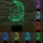 Moon Bears Style USB Charging 7 Colour Discoloration Creative Visual Stereo Lamp 3D Touch Switch Control LED Light Desk Lamp Nig
