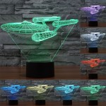 Star Trek Battleship Style USB Charging 7 Colour Discoloration Creative Visual Stereo Lamp 3D Touch Switch Control LED Light Des