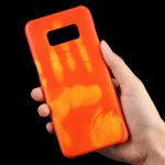For Samsung Galaxy S8 Paste Skin + PC Thermal Sensor Discoloration Protective Back Cover Case(Orange)