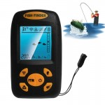 Portable Ultrasonic Fish Finder, Water Depth & Temperature Fishfinder with Wired Sonar Sensor Transducer and LCD Dispaly