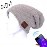 Weave Textured Knitted Bluetooth Headset Warm Winter Beanie Hat with Mic for Boy & Girl & Adults(Grey)