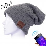 Weave Textured Knitted Bluetooth Headset Warm Winter Beanie Hat with Mic for Boy & Girl & Adults (Dark Grey)
