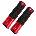 2 PCS Motorcycle Universal Net Texture Metal Right Handle Bar Grips with Rubber Cover (Red)