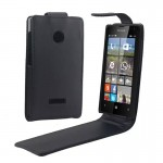 Vertical Flip Magnetic Snap Leather Case for Microsoft Lumia 435(Black)