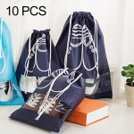 10 PCS D-POCKET Non-Woven Drawing Belt Shoe Pouch,Small Size(navy)