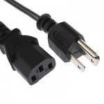 Universal US 3 Prong AC Power Cords for Desktop Computer Printer Monitor Plug, Cable Length: 1.2m
