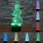 Snowman Style USB Charging 7 Colour Discoloration Creative Visual Stereo Lamp 3D Touch Switch Control LED Light Desk Lamp Night