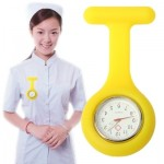 Portable Silicone Nurse Round Quartz Wristwatch Watch with Pin (Yellow)