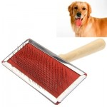 Soft Curve Needled Manual Bristles Grooming Cleaning Brush with Wood Handle for Pet, Big Size