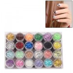 24 x Colorful Sparkly Colors Boxed Crushed Shell Powder Nail Art Tip Decoration