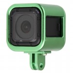 Housing Shell CNC Aluminum Alloy Protective Cage with Insurance Back Cover for GoPro HERO4 Session(Green)