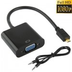 Full HD 1080P Micro HDMI Male to VGA Female Video Adapter Cable with Audio Cable, Length: 22cm (Black)