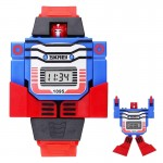 SKMEI Transformation Toy Shape Changing Removable Dial Digital Movement Children Watch with PU Plastic Cement Band(Red)