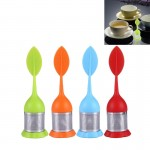 4 PCS Food Grade Leaf Silicone Make Tea Bag Stainless Steel Tea Strainers, Random Color Delivery