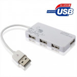 4 Ports USB 2.0 HUB, Plug and Play, White