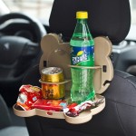 Cartoon Style Foldable Back Car Seat Drink Holder Back Seat Food Tray Storage Organizer Table(Brown)