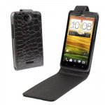 Crocodile Texture Vertical Flip Holster Leather Case for HTC One X / Edge / S720e (Black)