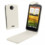Crocodile Texture Vertical Flip Holster Leather Case for HTC One X / Edge / S720e (White)