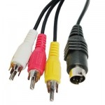 4 Pin S-Video to 3 RCA AV TV Male Cable Converter Adapter, Length: 1.5M(Black)
