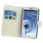 Crocodile Texture Flip Leather Case with Credit Card Slot & Holder for Samsung Galaxy SIII / i9300 (White)