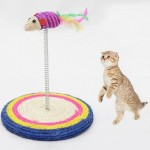 Colorful Pet Cat Playing Toys Sisal Spring Seat Cat Scratch Board With Mouse, Board Diameter: 19cm