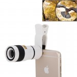 8X Zoom Telescope Telephoto Camera Lens with Clip for iPhone & Samsung & HTC and Other Mobile Phones(White)