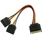 SATA 15-Pin Male to 2 x 15-Pin Female Power Extension Cable, Length: 15CM