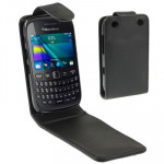 Vertical Flip Leather Case for BlackBerry Curve 9220 (Black)