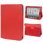 2-fold Litchi Texture Flip Leather Case with Holder Function for iPad mini 1 / 2 / 3(Red)