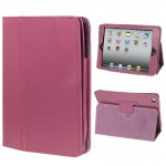 2-fold Litchi Texture Flip Leather Case with Holder Function for iPad mini 1 / 2 / 3(Purple)