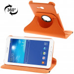 360 Degree Rotatable Litchi Texture Leather Case with 2-angle Viewing Holder for Samsung Galaxy Tab 3 Lite T110 / T111(Orange)