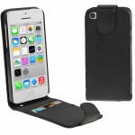 Vertical Flip Leather Case with Credit Card Slot for iPhone 5C(Black)