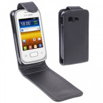 Vertical Flip Leather Case for Samsung Galaxy Poket / S5300, Black