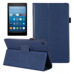 For Amazon Kindle Fire HD8 (2017) Litchi Texture Horizontal Flip Leather Case with Holder (Dark Blue)