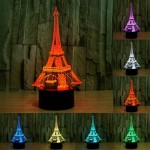 Eiffel Tower Style USB Charging 7 Colour Discoloration Creative Visual Stereo Lamp 3D Touch Switch Control LED Light Desk Lamp N