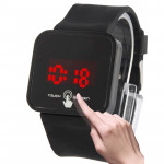 Stylish Unisex Capacitive Touch Screen Electronic LED Watch Wristwatch Timepiece with Silicone Band ( Black )