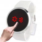 Touch Screen Unisex LED Digital Watch Wristwatch Timepiece Silicon Strap ( White )