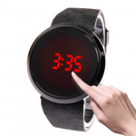 Touch Screen Unisex LED Digital Watch Wristwatch Timepiece Silicon Strap ( Black )
