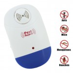 Electronic Ultrasonic Mosquito Rat Pest Control Repeller with LED Light, US Plug, AC90V-250V (White+Blue)