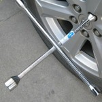 Compact Universal Tire Iron Lug Wrench with 17mm 19mm 21mm 23mm Socket Adapters