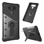 For LG G6 Shock-Resistant 360 Degree Spin Sniper Hybrid Case TPU + PC Combination Case with Holder (Black)