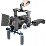 YELANGU YLG1103A-A Steadicam Dual Handles Camera Shoulder Mount + Camera Cage Stabilizer Kit with Matte Box for DSLR Camera / Vi