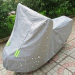 Outdoor Universal Anti-Dust Sunproof Waterproof Motorcycle Aluminum Film Flocking Cover with Warning Strips, Fits Bike up to 2.3