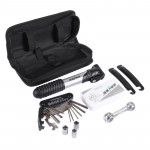 Bike Bicycle Repair Air Pump + Wrench + Tire Spoon + Screwdriver + More Tools Set(Black)