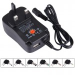 UK Plug Universal 30W Power Wall Plug-in Adapter with 5V 2.1A USB Port, Tips: 6 PCS, Cable Length: About 1.2m