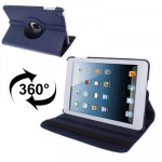 360 Degree Rotatable Litchi Texture Leather Case with Holder for iPad mini 1 / 2 / 3 (Dark Blue)