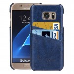 For Samsung Galaxy S7 / G930 Oil Wax Texture Leather Back Cover Case with Card Slots (Dark Blue)